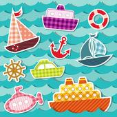 Set di adesivi di trasporto di mare. — Vettoriale Stock