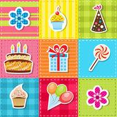 Patchwork avec des éléments de fête anniversaire — Vecteur