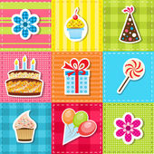Patchwork with birthday party elements — Stock Vector