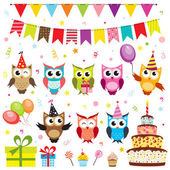 Set of vector birthday party elements with owls — Stock Vector