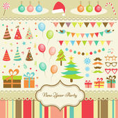 Set of New Year Party Elements — Stock Vector