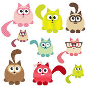 Set of cute cats — Vecteur