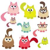 かわいい猫のセット — ストックベクタ