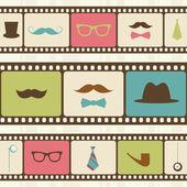 Fondo retro con tiras de película, bigote y gafas de sol — Vector de stock