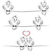 Ugglor i kärlek — Stockvektor