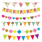 Textured bunting and garland set — 图库矢量图片