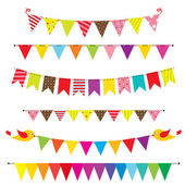 Vector bunting and garland set — Vector de stock