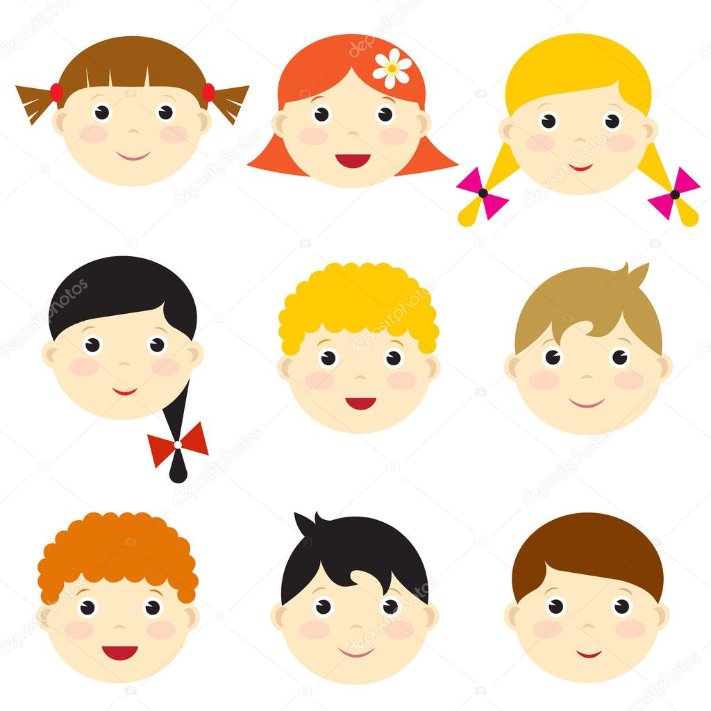 Kids Faces Vector Vector Kid Faces — Vector by