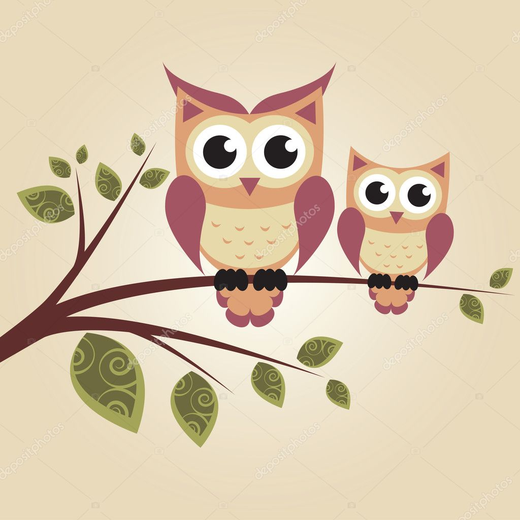 Two owls on the tree  Stock Vector #13943648