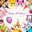 Birthday card with owls — Vector de stock