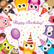 Birthday card with owls — Vector de stock #18128485