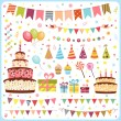 Set of birthday party elements - Stok Vektör