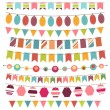 Colorful bunting and garland set — Stock Vector