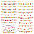 Colorful bunting and garlands — Stock Vector