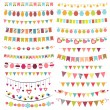 Stock Vector: Colorful bunting and garlands
