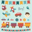 Scrapbook baby boy set — Stock vektor
