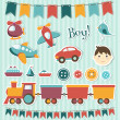 Stock Vector: Scrapbook baby boy set