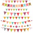 Stock Vector: Bunting and garland set isolated on white