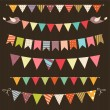 Retro bunting and garland set — Stock Vector