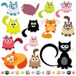 Stock Vector: Set of cats