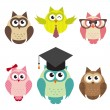 Stock Vector: Set of cute owls
