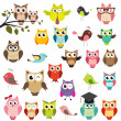 Stock vektor: Set of owls