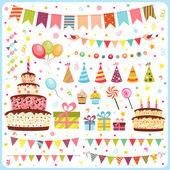 Ensemble d'éléments de fête anniversaire — Vecteur