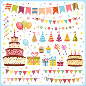 Set of birthday party elements — Vecteur
