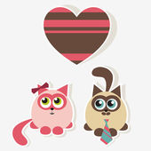 Cats in love — Vector de stock