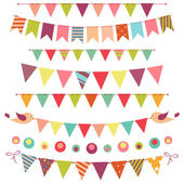 Bunting and garland set isolated on white — Stock Vector