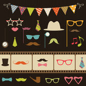 Set of retro party elements — Stock Vector
