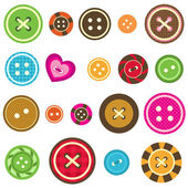 Sewing buttons on white background — Stock Vector