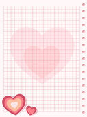 Pink squared paper sheet background with heart — Stock Vector