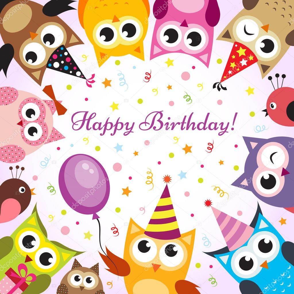 birthday card with owls  stock vector © annprecious, Birthday card