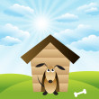 Royalty-Free Stock Vector Image: Dog in house on green grass field