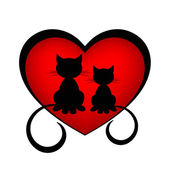 Black cats in love — Stock Vector