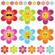 Stock Vector: Flower smileys