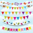 Stock Vector: Bunting and garland set on sky