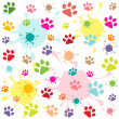 Stock Vector: Colored pattern with paw prints and blots