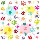 Colored pattern with paw prints and blots — Stock Vector