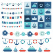 Sea theme garland and patchwork — Vector de stock
