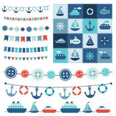 Sea theme garland and patchwork — Stock Vector