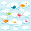 Birds on wires — Stock Vector