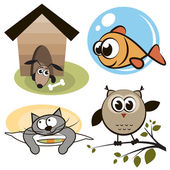 Owl, fish, cat and dog — Vector de stock