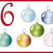 12 days of christmas: 6 Christmas balls - Stock Photo