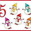 12 days of christmas: 5 Snowman — Stock Photo #12100544