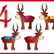 12 days of christmas: 4 reindeer — Stock Photo