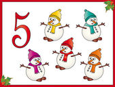 12 days of christmas: 5 Snowman — Stock Photo
