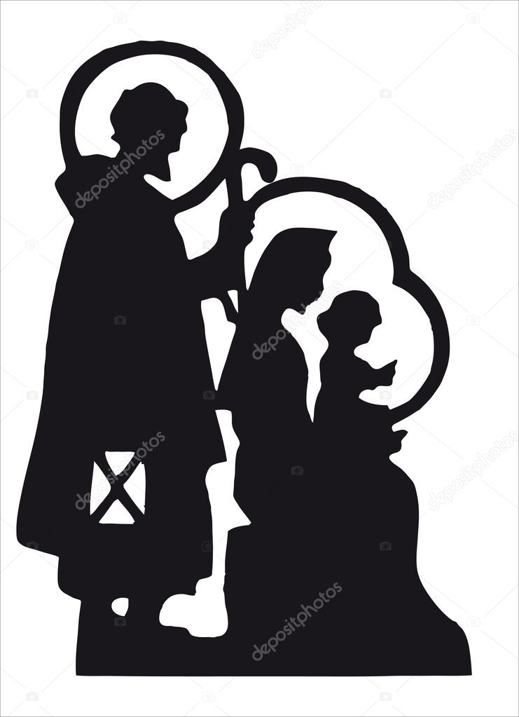 Nativity scene with Jesus, Mary, Joseph silhouette — Lizenzfreies Foto #12181339