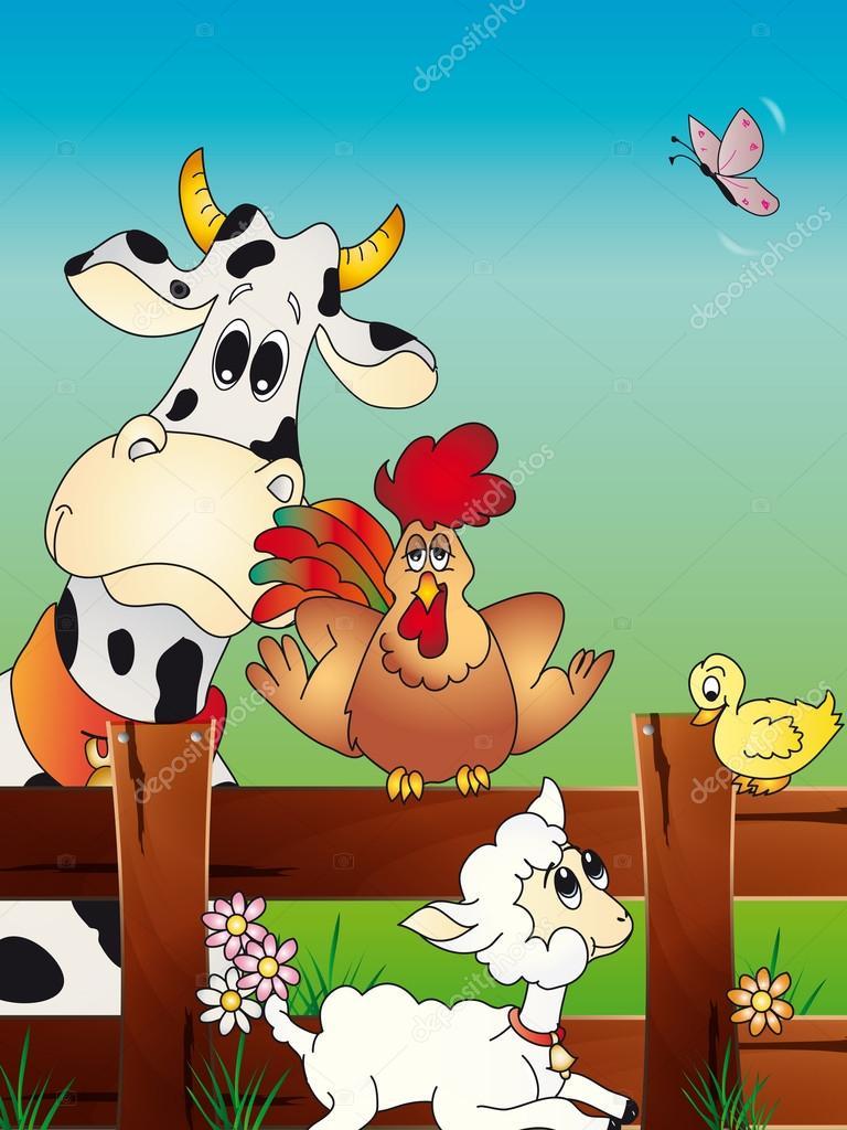 Cartone animato fattoria degli animali — foto stock